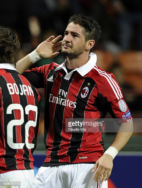 Pato of AC Milan celebrates after scoring his team's first goal to equalise during the UEFA Champions League group C match between AC Milan and...