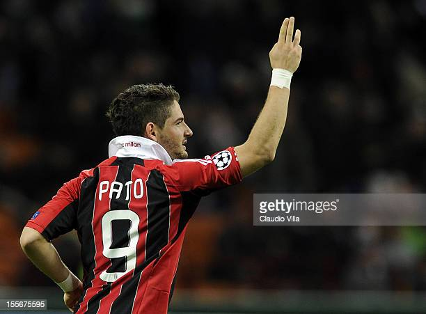 Pato of AC Milan celebrates after scoring the equaliser during the UEFA Champions League group C match between AC Milan and Malaga CF at Stadio...