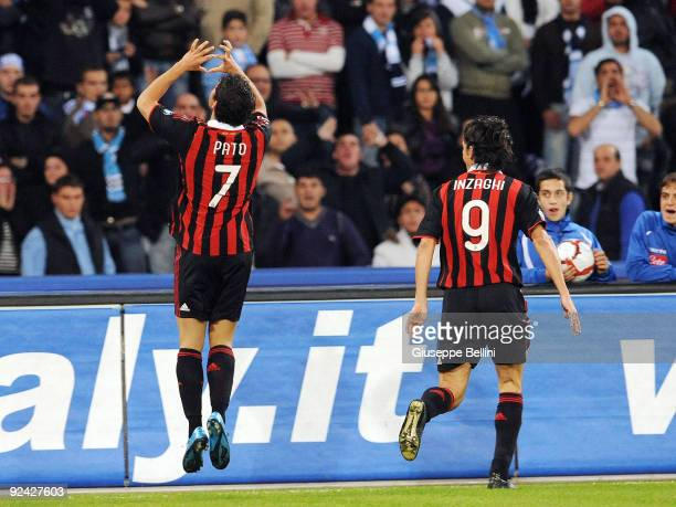 Pato of AC Milan celebrates with Filippo Inzaghi after scoring the second goal during the Serie A match between SSC Napoli and AC Milan at Stadio San...