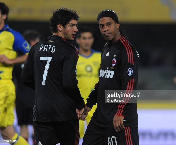 Pato of AC Milan his congratulation by teammate and Ronaldinho during the Serie A match between AC Chievo Verona and AC Milan at Stadio Marcantonio...