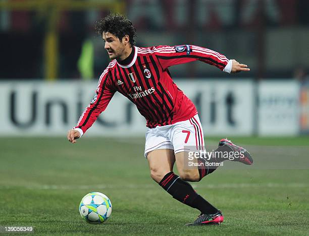 Pato of AC Milan in action during the UEFA Champions League round of 16 first leg match between AC Milan and Arsenal at Stadio Giuseppe Meazza on...