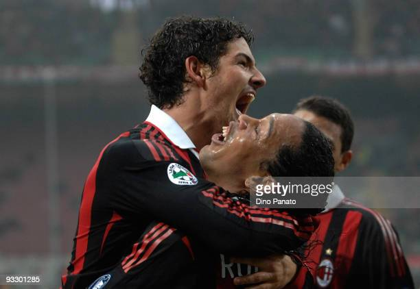 Pato of Milan celebrates with Ronaldinhoafter scoring their third milan's goal during the Serie A match between Milan and Cagliari at Stadio Giuseppe...