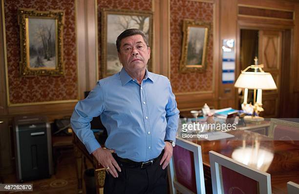 Patokh Chodiev billionaire and cofounder of Eurasian Natural Resources Corp poses for a photograph at his 19th century mansion in Moscow Russia on...