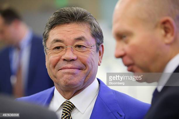 Patokh Chodiev billionaire and cofounder of Eurasian Natural Resources Corp center reacts between panel sessions on day two of the VTB Capital...