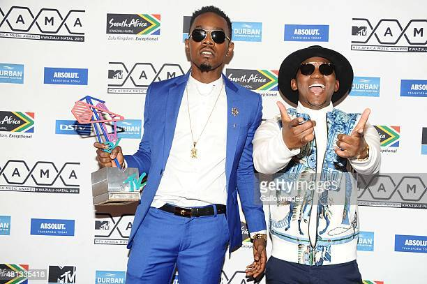 Patoranking of Nigeria with his New Act award with Khuli Chana during the 2015 MTV Africa Music Awards on July 18,2015 at the Durban International...