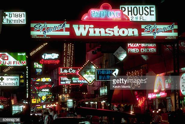 Patpong Road the center of Bangkok's redlight district glows with neon at night