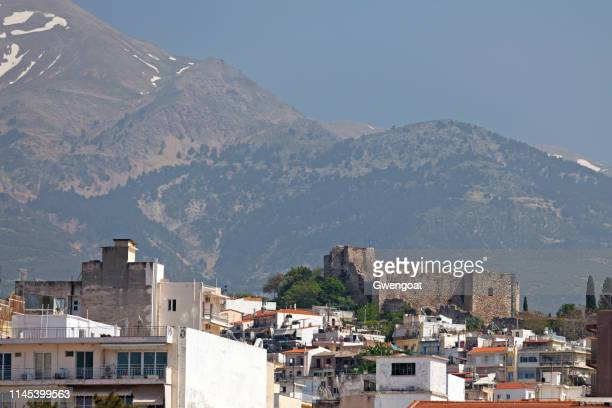 patra castle and the panachaiko - gwengoat stock pictures, royalty-free photos & images