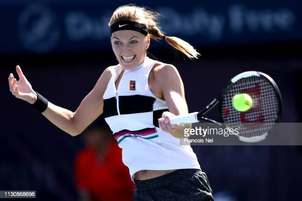 Patra Kvitova of Czech Republic in action against Jennifer Brady of United States during day four of the Dubai Duty Free Tennis Championships at...