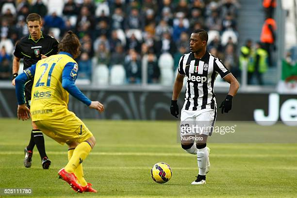 Patreice Evra and Nicolas Frey during the Serie A match between Juventus FC and AC Chievo Verona at Juventus Stafium on january 25 2015 in Torino...