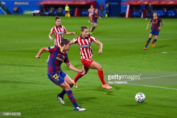 Patri Guijarro of FC Barcelona scores his team's first goal during the La Liga Iberdrola match between FC Barcelona and Atletico de Madrid at Estadi...