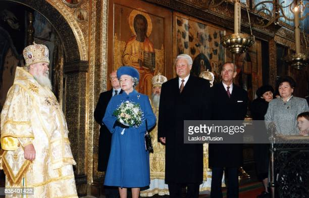 Patriarch Alexy II of Moscow and all Rus' Queen Elizabeth II Russian President Boris Yeltsin Prince Philip Duke of Edinburgh and Naina Yeltsina in...
