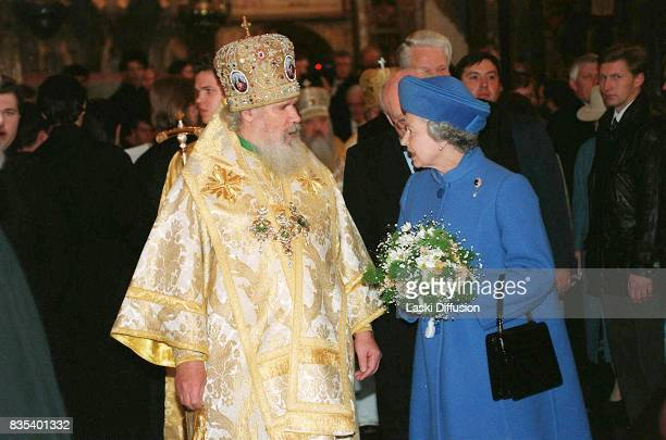Patriarch Alexy II of Moscow and Queen Elizabeth II in the Cathedral of the Dormition at Moscow Kremlin Russia on October 18 1994