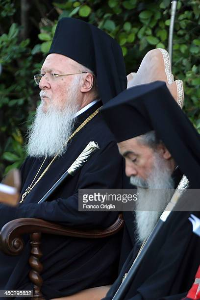 Patriarch Bartholomaios I attends a peace invocation prayer with Palestinian President Mahmoud Abbas Israeli President Shimon Peres and Pope Francis...