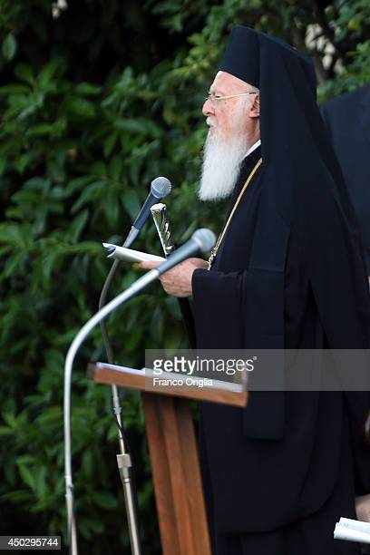 Patriarch Bartholomaios I spesks during a peace invocation prayer with Palestinian President Mahmoud Abbas Israeli President Shimon Peres and Pope...