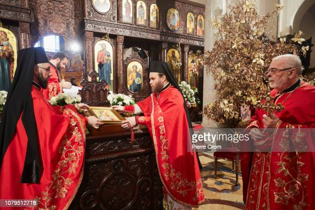 Patriarch Irinej head of the Orthodox Christian church in Serbia gives a mass in the cathedral of Christ the Saviour on January 9 2019 in Banja Luka...