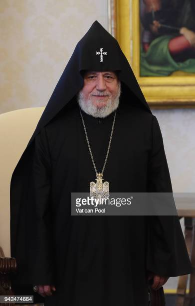 Patriarch Karekin II during a meeting with Pope Francis at the Apostolic Palace on April 5 2018 in Vatican City Vatican Following the meetings the...