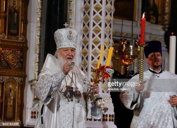 Patriarch Kirill of Moscow and All Russia holds an Orthodox Easter service at the Cathedral of Christ the Saviour in Moscow Russia on April 07 2018...