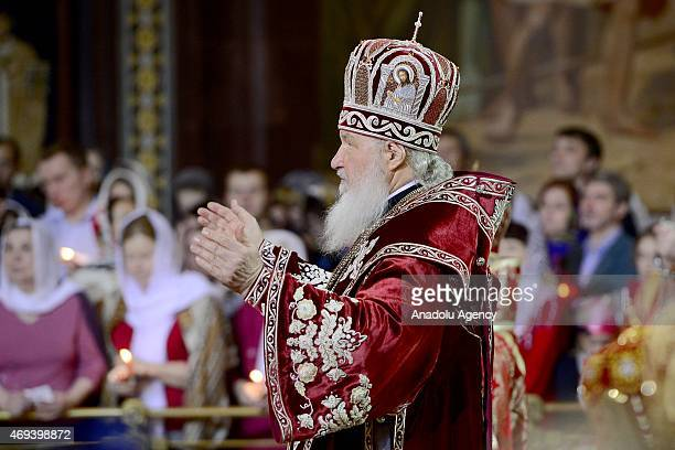 Patriarch Kirill of Russia leads the Easter service in Christ the Savior Cathedral in Moscow Russia on April 12 2015 Orthodox Christian believers...