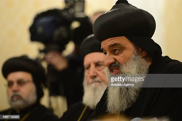 Patriarch Moran Mor Ignatius Aphrem II The Supreme Head of Universal Syriac Orthodox Church speaks during a meeting with Russian Foreign Minister...