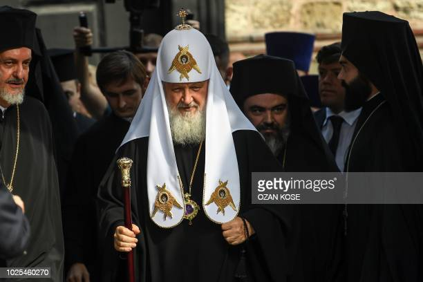 Patriarch of Moscow and All Russia Kirill arrives to St George church, the main Greek Orthodox cathedral during his visit on August 31, 2018 in...