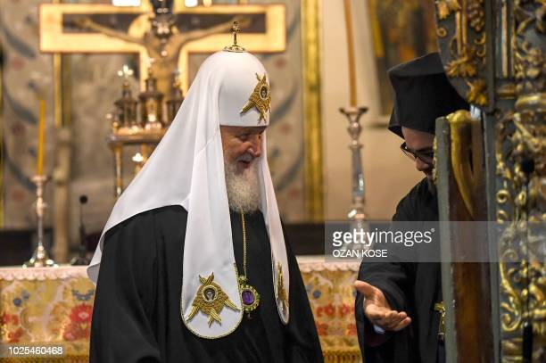 Patriarch of Moscow and All Russia Kirill visits St George church, the main Greek Orthodox cathedral during his visit on August 31, 2018 in Istanbul.