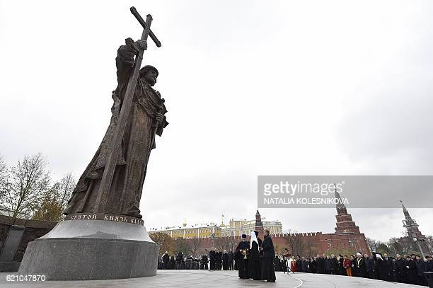 Patriarch of Russia Kirill conducts a blessing during an opening ceremony of monument to Vladimir the Great in Moscow on November 4 2016 during...