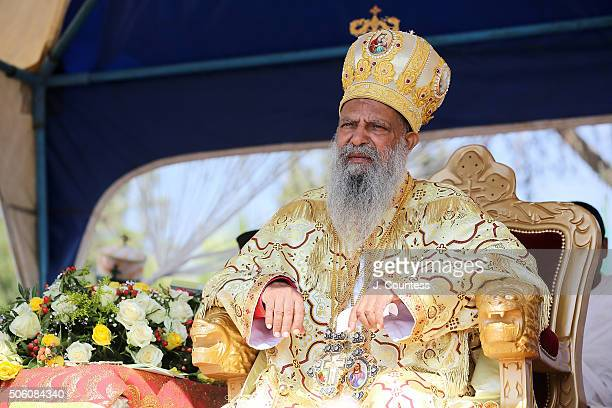 Patriarch of the Ethiopian Orthodox Church Abuna Matthew overseas the festivities on the second day of the three day Epiphany celebrations in the...