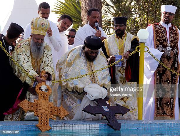 Patriarch of the Ethiopian Orthodox Tewahedo Church Abune Mathias and Patriarch of the Ethiopian Orthodox Abune Samuel lead the religious ritual as...