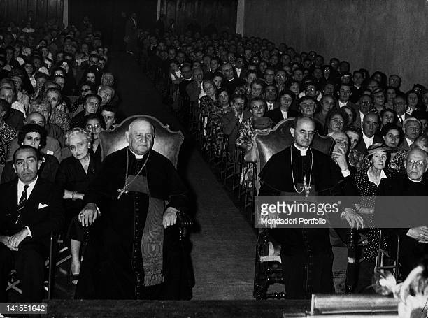 Patriarch of Venice and future Pope John XXIII Angelo Roncalli and Archbishop of Milan and future Pope Paul VI Giovanni Battista Montini attending...