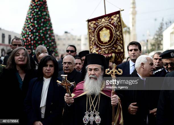 Patriarch Theophilos III of Jerusalem arrives at the Church of the Nativity believed to be the birth place of Jesus Christ in West Bank town of...