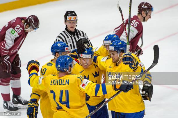 Patric Hornqvist of Sweden celebrates his goal with teammates during the 2019 IIHF Ice Hockey World Championship Slovakia group game between Sweden...