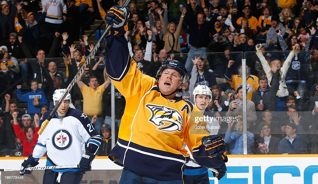 Patric Hornqvist #27 of the Nashville Predators celebrates a goal against the Winnipeg Jets at Bridgestone Arena on October 24, 2013 in Nashville, Tennessee.