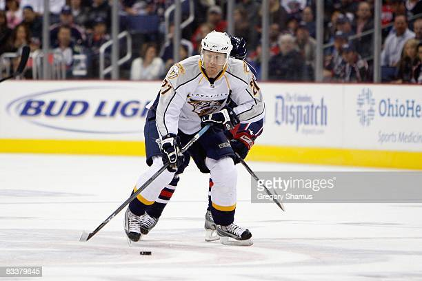 Patric Hornqvist of the Nashville Predators handles the puck during the game against the Columbus Blue Jackets at Nationwide Arena on October 17,...