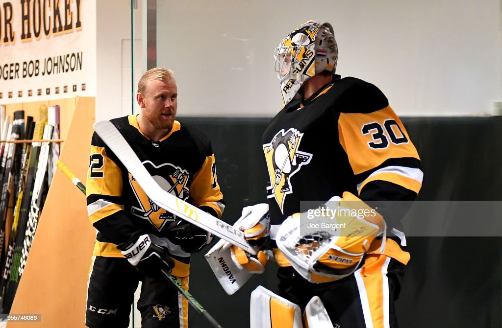 Patric Hornqvist #72 of the Pittsburgh Penguins and Matt Murray #30 of the Pittsburgh Penguins prepare to take the ice against the Washington Capitals in Game Six of the Eastern Conference Second Round during the 2018 NHL Stanley Cup Playoffs at PPG Paints Arena on May 7, 2018 in Pittsburgh, Pennsylvania.