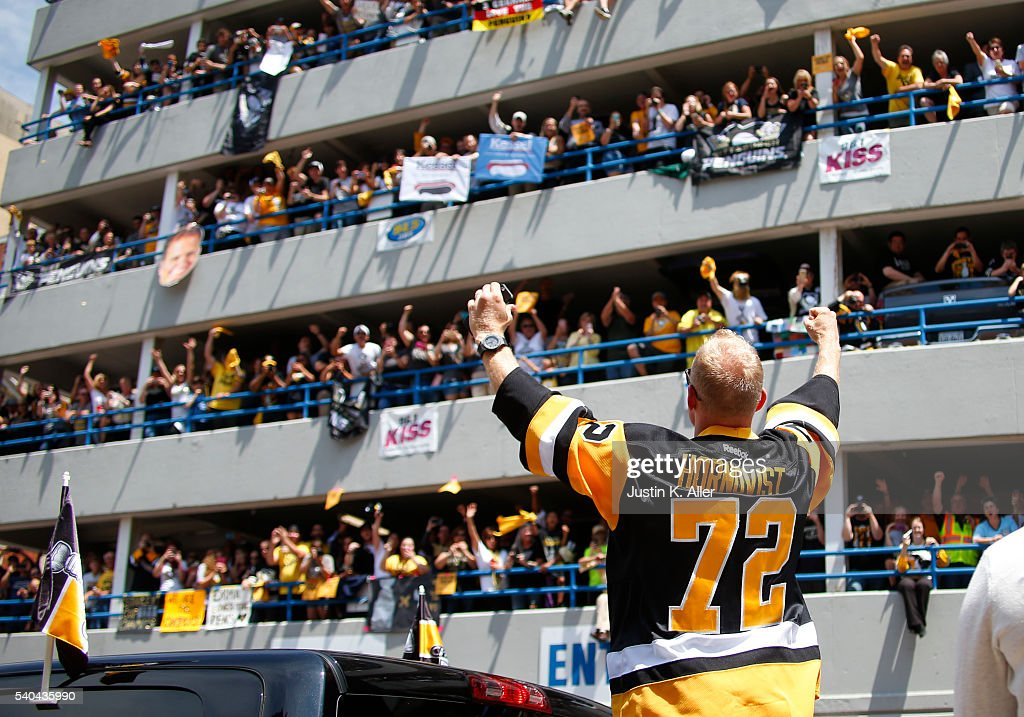 Patric Hornqvist #72 of the Pittsburgh Penguins celebrates during the Victory Parade and Rally on June 15, 2016 in Pittsburgh, Pennsylvania. The Penguins defeated the San Jose Sharks to win the NHL Stanley Cup.