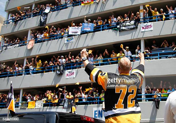 Patric Hornqvist of the Pittsburgh Penguins celebrates during the Victory Parade and Rally on June 15 2016 in Pittsburgh Pennsylvania The Penguins...