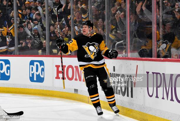 Patric Hornqvist of the Pittsburgh Penguins celebrates his first period goal against the New York Rangers at PPG Paints Arena on January 14 2018 in...