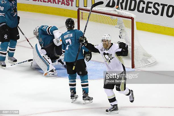 Patric Hornqvist of the Pittsburgh Penguins celebrates his goal against the San Jose Sharks during the second period in Game Three of the 2016 NHL...