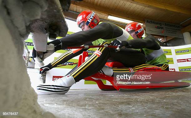 Patric Leitner of Germany and his team mate Alexander Resch starts at the team relay competition during the Viessmann Luge World Cup on November 29,...