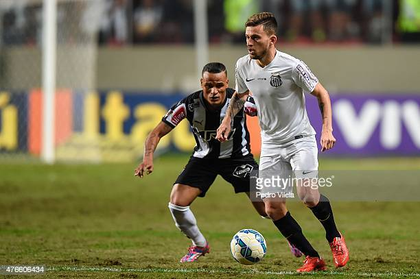 Patric of Atletico MG and Lucas Lima of Santos battle for the ball during a match between Atletico MG and Santos as part of Brasileirao Series A 2015...