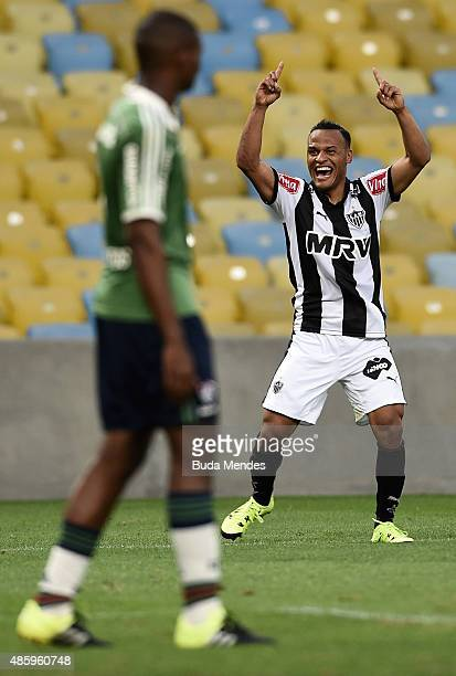Patric of Atletico Mineiro celebrates a scored goal during a match between Fluminense and Atletico Mineiro as part of Brasileirao Series A 2015 at...