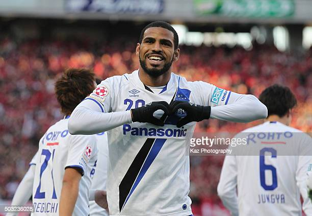 Patric of Gamba Osaka celebrates scoring his team's second goal during the 95th Emperor's Cup final between Urawa Red Diamonds and Gamba Osaka at...