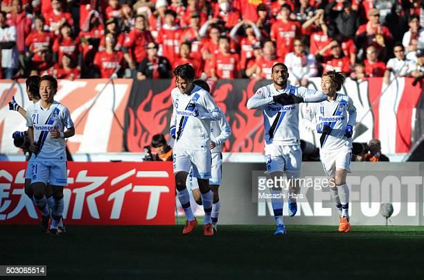 Patric of Gamba Osaka celebrates the first goal during the 95th Emperor's Cup final between Urawa Red Diamonds and Gamba Osaka at Ajinomoto Stadium...