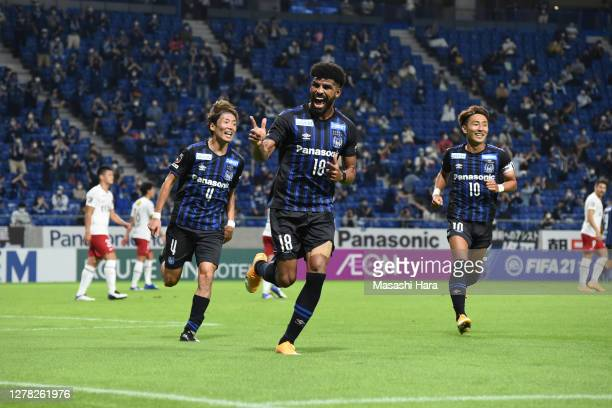 Patric of Gamba Osaka celebrates the first goal during the J.League Meiji Yasuda J1 match between Gamba Osaka and Kashima Antlers at Panasonic...