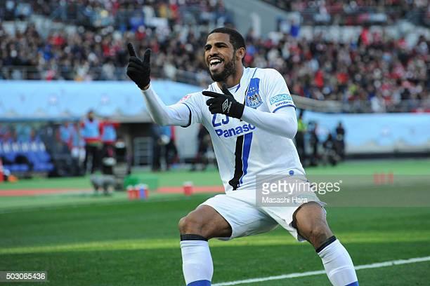 Patric of Gamba Osaka celebrates the second goal during the 95th Emperor's Cup final between Urawa Red Diamonds and Gamba Osaka at Ajinomoto Stadium...