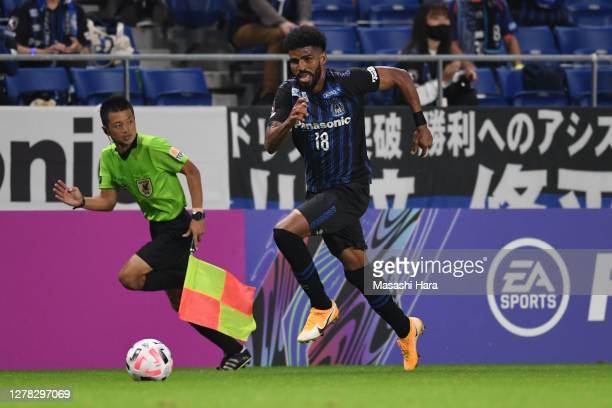 Patric of Gamba Osaka in action during the J.League Meiji Yasuda J1 match between Gamba Osaka and Kashima Antlers at Panasonic Stadium Suita on...