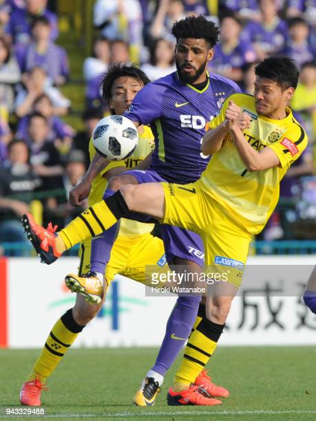 Patric of Sanfrecce Hiroshima and Hidekazu Otani of Kashiwa Reysol compete for the ball during the JLeague J1 match between Kashiwa Reysol and...