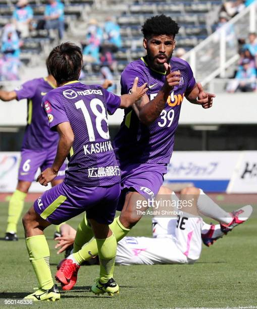 Patric of Sanfrecce Hiroshima celebrates scoring the opening goal during the JLeague J1 match between Sanfrecce Hiroshima and Sagan Tosu at Edion...