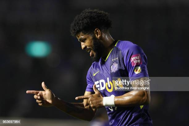 Patric of Sanfrecce Hiroshima celebrates scoring the opening goal during the JLeague J1 match between Sanfrecce Hiroshima and Shimizu SPulse at Edion...