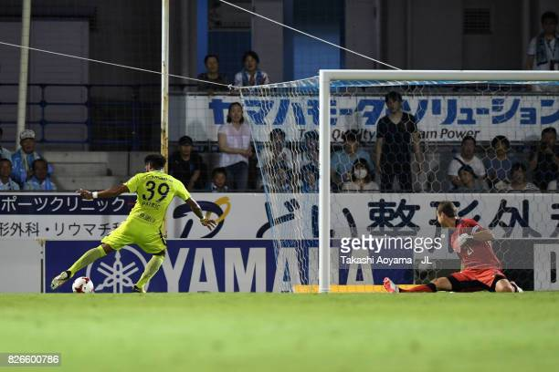 Patric of Sanfrecce Hiroshima scores his side's second goal during the JLeague J1 match between Jubilo Iwata and Sanfrecce Hiroshima at Yamaha...